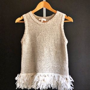 Etcetera Fringed Hem Knitted Luxe Tank Top XS